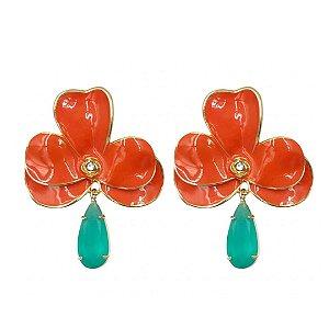 Brinco flor laranja pedra esmeralda fusion Jasmine