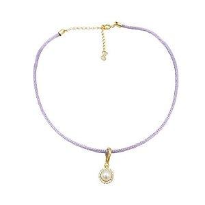 Choker cordão seda lilás pingente pérola