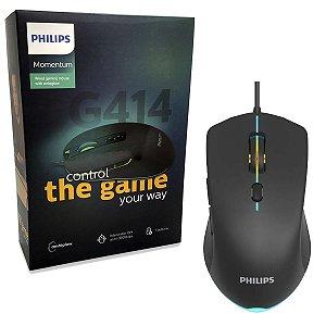 Mouse Gamer Para Jogo Philips Iluminado 7 Botões 3600dpi Led G414