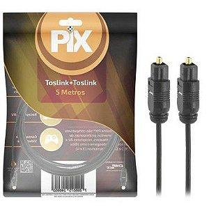 Cabo De Áudio Óptico Digital 5 Metros Toslink 5mt Plug Gold