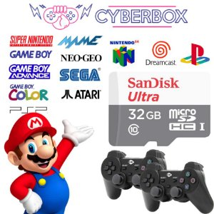 SISTEMA CYBER BOX VIDEO GAME RETRO MULTIJOGOS 32GB 2 CONTROLES C/ FIO