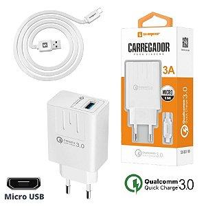 Carregador Turbo Micro Usb Quick Charge 3.0 Carga Rápida Com Cabo Sumexr SX-QC1-V8 Premium