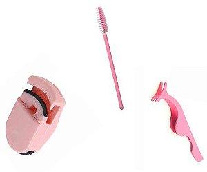 kit curvex com pinça de cilios com 1 escovinha de cilios