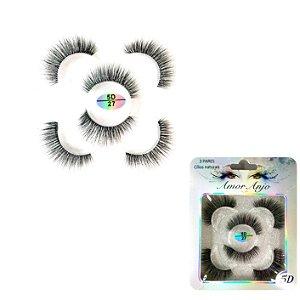 cartela de cilios postiços 3 pares 5D-27 amor e anjo