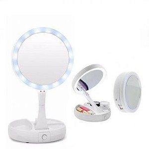 Espelho Maquiagem LED Articulável 2 Lados Ampliação Camarim