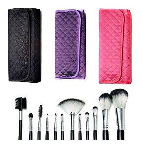 Kit 12 Pincéis Macrilan Maquiagem + Nécessaire *Consultar Cores Disponíveis*