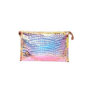 Nécessaire Holográfica Transparente Com Textura *Consultar Cores Disponíveis*