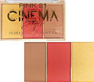 Trio Cinema Style 2 - blush, iluminador e contorno - Pink 21