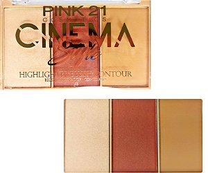 Trio Cinema Style 3 - blush, iluminador e contorno - Pink 21
