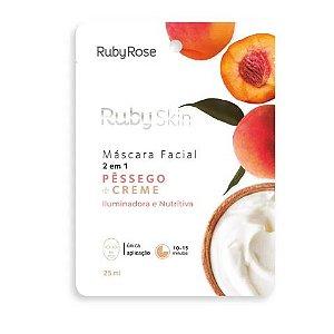 Máscara Facial de Tecido Pêssego Skin Ruby Rose