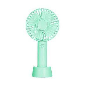 Mini Ventilador Portátil Recarregável Com Suporte de Mesa verde agua