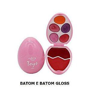 Estojo de Maquiagem Infantil My Life Teen Toys Egg Rosa Batom e Gloss