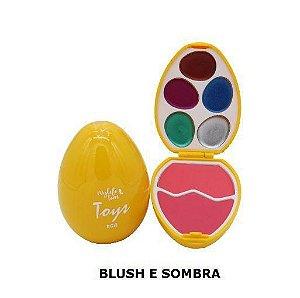 Estojo de Maquiagem Infantil My Life Teen Toys Egg Amarelo Blush e Sombra