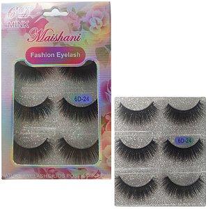 Cílios Postiços Maishani 6D-24 Fashion Eyelash Cartela Com 3 Pares