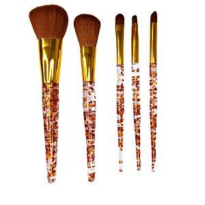 Kit  Pinceis Com Cabo Transparente Decorado Glitter dourado 5 peças