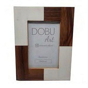 Porta Retrato Resina Textura Madeira Creme E Caramelo 10x15
