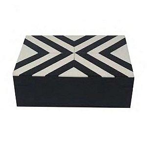Caixa De Madeira Decorativa Preto E Branco