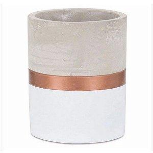 Vaso Branco e Cobre em Cimento