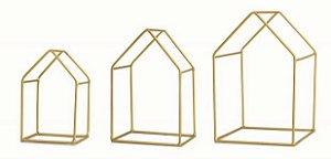 Kit 3 Casa Dourada em Metal