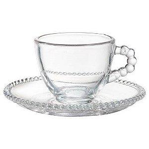 Jogo 8 Peças para Chá Bolinha em Cristal