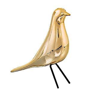 Pássaro Cerâmica Dourado