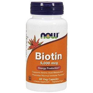 Biotina 5000 mcg (60 Cápsulas) - NOW Foods