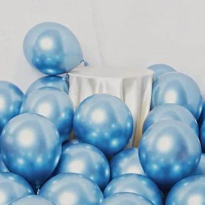 Balão Azul Metálico Balloon nº9 com 25 unid.
