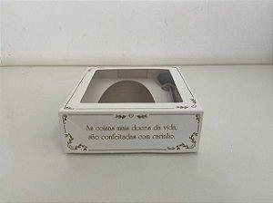 Caixa para Meio Ovo de Páscoa com colher Clássica White 250g