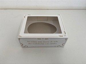 Caixa para Meio Ovo de Páscoa com colher Clássica White 500g