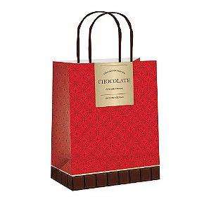 Sacola em Papel Gourmet vermelho G 32X26,5X13 Cromus