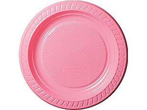 Prato descartável Rosa 15cm pacote com 10 unid. Copobras