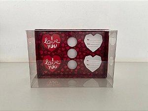 Caixa vermelho escuro 4 corações lapidados de 65G + 3 doces
