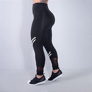 Calça Fitness Feminina Preta com Tule e Listras Brancas | Ref: 4.4.4339-0102
