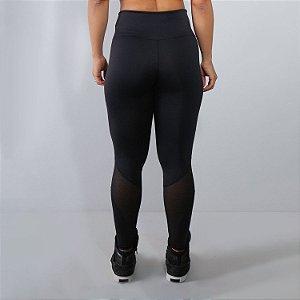 Calça Fitness Feminina Preta com Detalhes em Tela | Ref: 4.4.1591-01