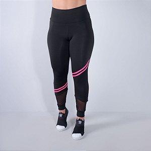 Calça Fitness Feminina Preta com Listras Rosa Neon e Tule | Ref: 4.4.4339-0139