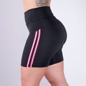 Bermuda Fitness Preta com Listras Rosa | Ref: 4.4.4327-0139