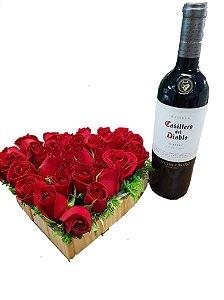 Coração com Rosas e Vinho