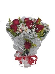 Buque Tradicional de 6 Rosas Vermelhas