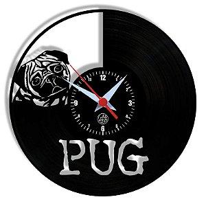 Relógio de Vinil - Pug Cachorro Pet Petshop