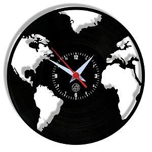Relógio de Vinil - Mapa Mundi Planeta