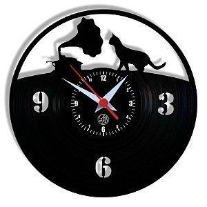 Relógio de Vinil - Gato Gramofone Pet Musica