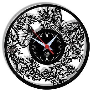 Relógio de Vinil - Borboletas Natureza