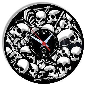 Relógio de Vinil - Ossos Crânio Dark