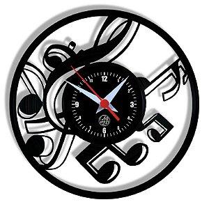 Relógio de Vinil - Notas Muicais Clave Musica