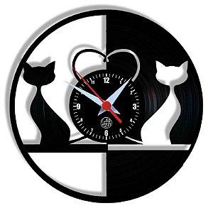 Relógio de Vinil - Gatos Preto E Branco Pet Petshop