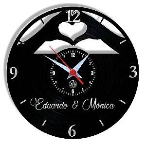 Relógio de Vinil - Casal Nome Personalizado