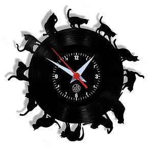 Relógio de Vinil - Gatos Em Volta