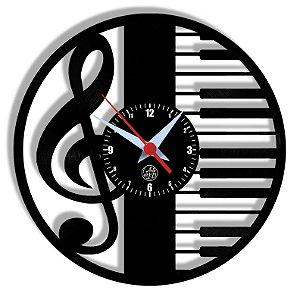 Relógio de Vinil - Piano Clave