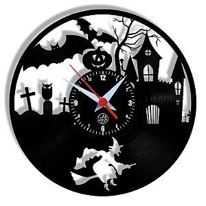 Relógio de Vinil - Bruxa Halloween