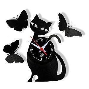 Relógio de Vinil - Gato E Borboletas